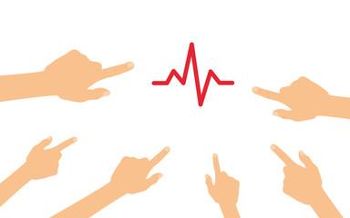 Hände zeigen auf - Herzschlag