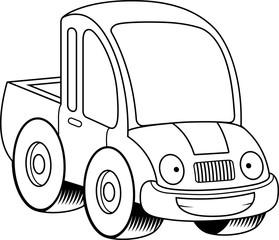 Happy Cartoon Pickup Truck