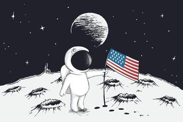 astronaut sets a flag of USA on Moon