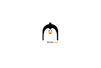 Laconic geometric logo, the head of the penguin in the style of flat