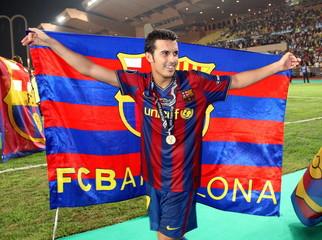 Barcelona's Pedro Rodriguez celebrates winning the Super Cup Final
