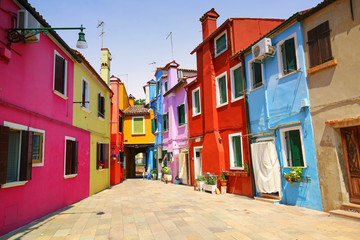 Colorful architecture of the Burano island near the Venice in Italy.