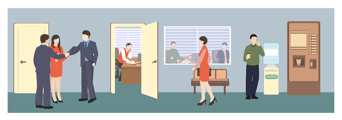 People in hall. Office life. Flat style vector illustration. Situation in office. Meeting in hall. Business characters.