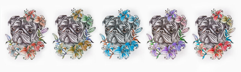 Set of sketches of multicolored pug in flowers on a white background.