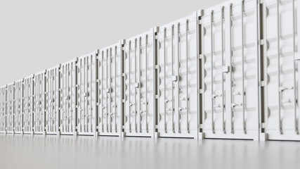 Endless line of White Shipping Containers on a modern surface