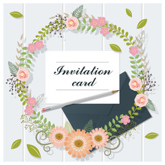 Invitation card collection on wooden background , vector , illustration