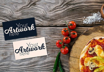 Blank Cards and Pizza Meal Mockup 1