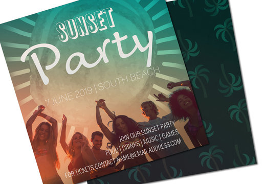 Square Summer Party Invitation Layout with Photo 1