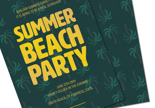 Palm Tree Patterned Summer Party Invitation 1