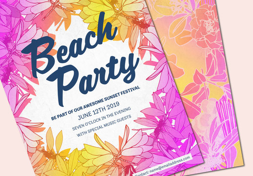Bright and Floral Summer Party Invitation Layout 2
