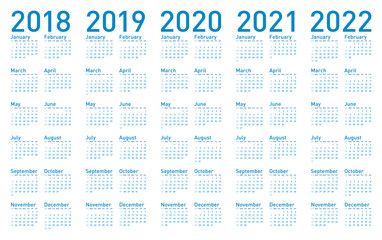 Simple Blue Calendar for years 2018,2019, 2020, 2021 and 2022, in vectors.