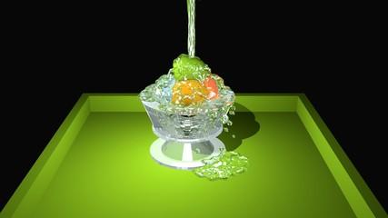 bunte Kugeln im Glas mit Wasser überschüttet auf einem grünem Tablett. 3d rendering