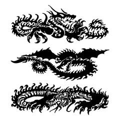 Vector Dragon Tattoo Set