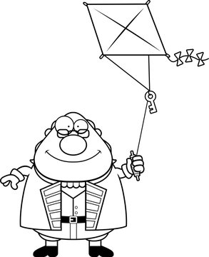 Cartoon Ben Franklin Kite