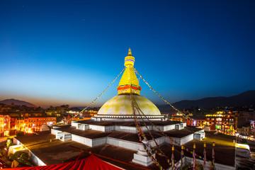 Boundhanath stupa in twilight, Kathmandu Nepal.