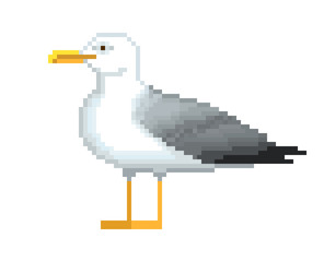 Old school 8 bit pixel art seagull standing on the ground.Sea bird icon isolated on white background. Side view gull symbol. Retro video/pc game character. Slot machine graphics. Summer vacation logo.