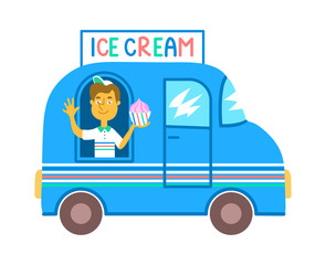 Communicable seller in a blue ice cream truck isolated on white background. Street food business, colorful cartoon illustration. Smiling guy in a dessert delivery car. Summer snack bar vehicle.