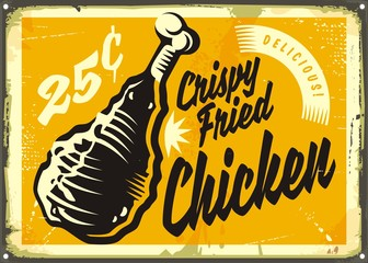 Vintage advertisement with delicious crispy fried chickens meat