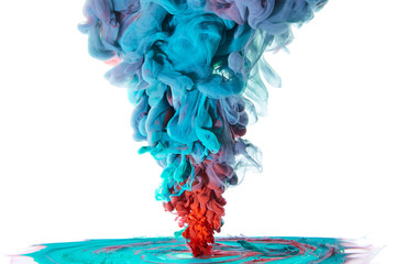 Ink swirling in water, Color drop in water photographed in motion