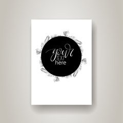 Hand drawn lettering in modern calligraphy style. Boho art print with decorative feathers.