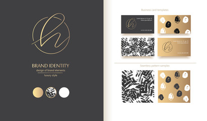 Letter H vector logo. Design includs two business card templates and two seamless patterns. Golden metallic elements