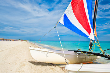 Wall Mural - Colorful sailboat at Varadero beach in Cuba