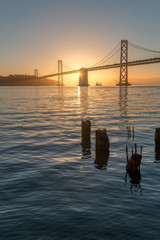 Sunrise over the Baybridge in a Foggie morning