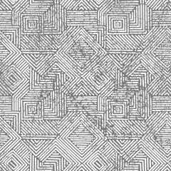 Seamless geometric vintage print. Grunge texture. Gray and white colors.