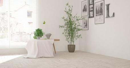White room with table. Scandinavian interior design. 3D illustration