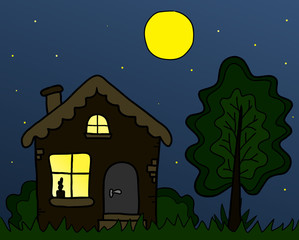 The night summer landscape,   country house