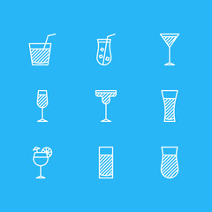 Vector Illustration Of 9 Beverage Icons. Editable Pack Of Martini, Aqua, Goblet And Other Elements.