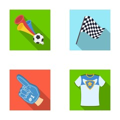 Pipe, uniform and other attributes of the fans.Fans set collection icons in flat style vector symbol stock illustration web.