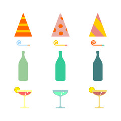 Party set. Celebratory cap and Party horn. alcohol cocktail