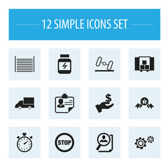 Set Of 12 Editable Mixed Icons. Includes Symbols Such As Identification, Blank, Protein And More. Can Be Used For Web, Mobile, UI And Infographic Design.