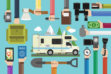 Camping travel concept design flat with camper,trailer.Vector illustration