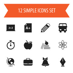 Set Of 12 Editable Knowledge Icons. Includes Symbols Such As Earth Planet, Textbook, Portfolio And More. Can Be Used For Web, Mobile, UI And Infographic Design.