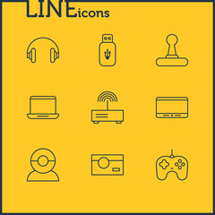 Vector Illustration Of 9 Gadget Icons. Editable Pack Of Headset, Joypad, Photography And Other Elements.