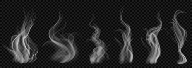 Set of translucent white smoke on transparent background. For used on dark backgrounds. Transparency only in vector format