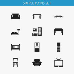 Set Of 12 Editable Furnishings Icons. Includes Symbols Such As Couch, Lamp, Television And More. Can Be Used For Web, Mobile, UI And Infographic Design.