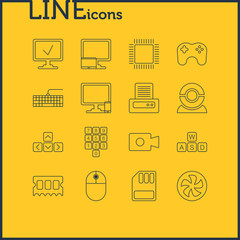 Vector Illustration Of 16 Computer Icons. Editable Pack Of Cooler, Keypad, Printer And Other Elements.