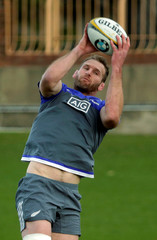 The New Zealand All Blacks rugby team captain Kieran Read catches a ball during a team training session in Sydney