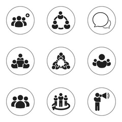 Set Of 9 Editable Business Icons. Includes Symbols Such As Cooperation, Corporate, Teamwork And More. Can Be Used For Web, Mobile, UI And Infographic Design.