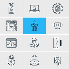 Vector Illustration Of 12 Data Icons. Editable Pack Of System Security, Data Security, Safe Lock And Other Elements.