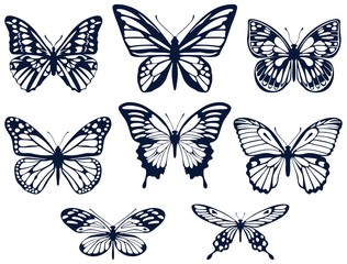 Foto op Aluminium Vlinders in Grunge Collection of silhouettes of butterflies. Butterfly icons. Vector illustration.