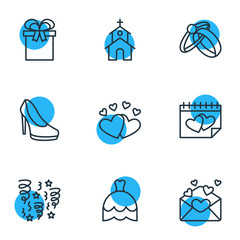 Vector Illustration Of 9 Wedding Icons. Editable Pack Of Love, Present, Card And Other Elements.
