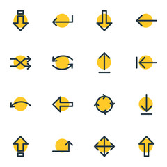 Vector Illustration Of 16 Sign Icons. Editable Pack Of Loading, Down, Left And Other Elements.