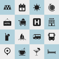 Set Of 16 Editable Journey Icons. Includes Symbols Such As Date Block, Location, Cocktail And More. Can Be Used For Web, Mobile, UI And Infographic Design.