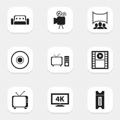 Set Of 9 Editable Movie Icons. Includes Symbols Such As Couch, Compact Disk, Monitor With Processor And More. Can Be Used For Web, Mobile, UI And Infographic Design.