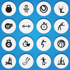 Set Of 16 Editable Fitness Icons. Includes Symbols Such As Game Ball, Exercise, Stopwatch And More. Can Be Used For Web, Mobile, UI And Infographic Design.
