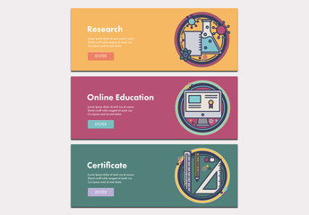 3 Illustrated Education Themed Web Banners 1